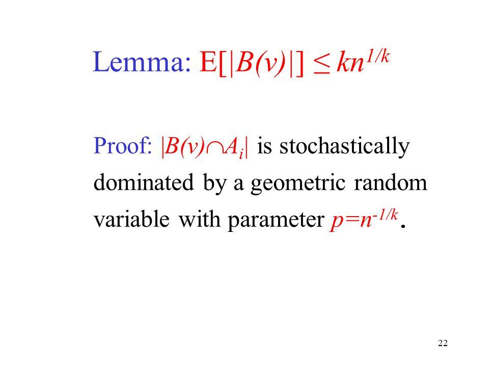 Lemma: E[|B(v)|] ≤ kn1/k